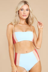 6 Rebel Heart Sky Blue And Brick Bikini Top at reddress.com
