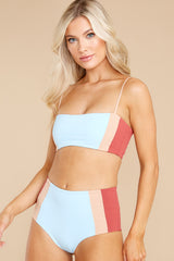 7 Rebel Heart Sky Blue And Brick Bikini Top at reddress.com