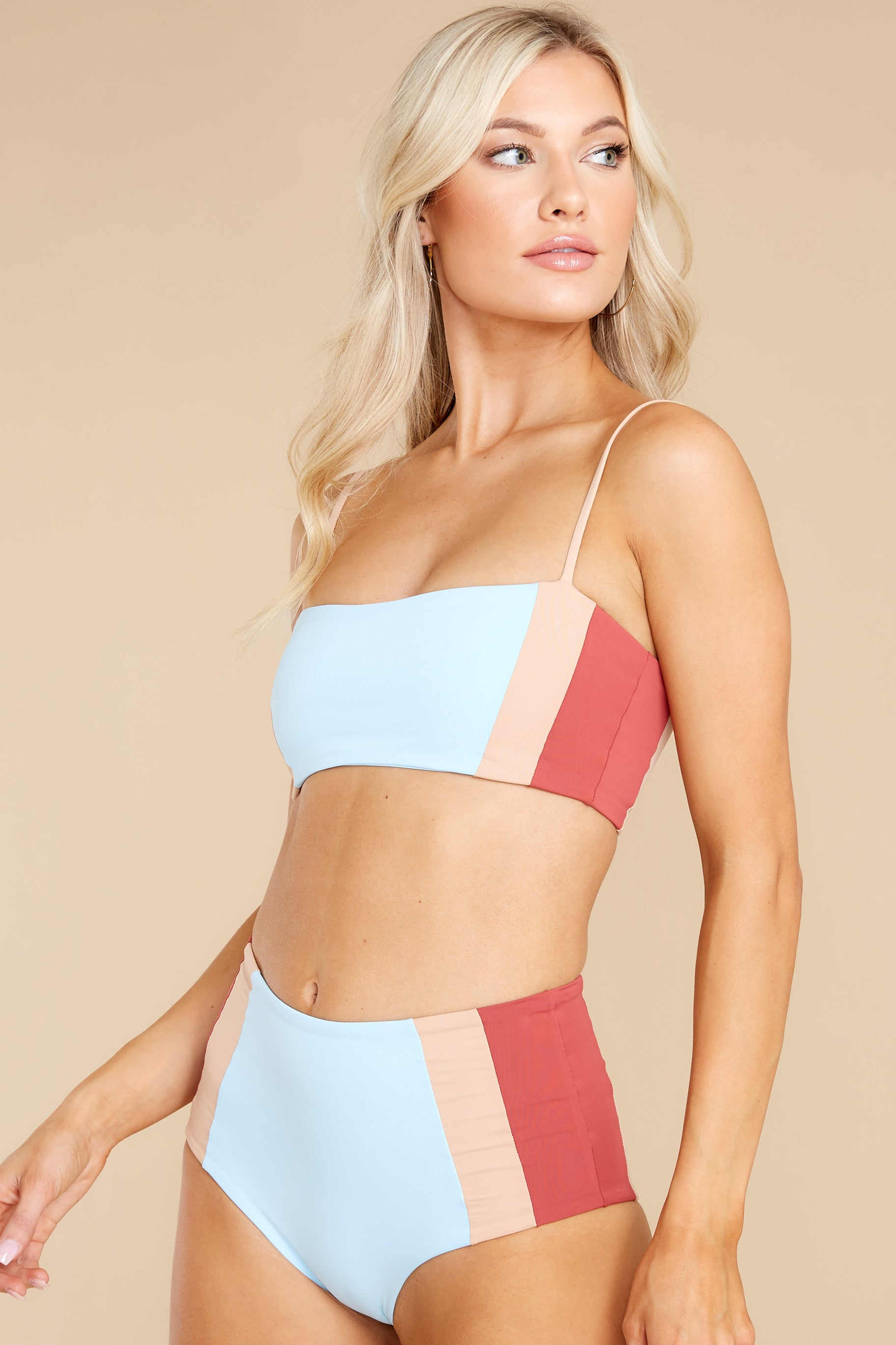 1 Rebel Heart Sky Blue And Brick Bikini Top at reddress.com