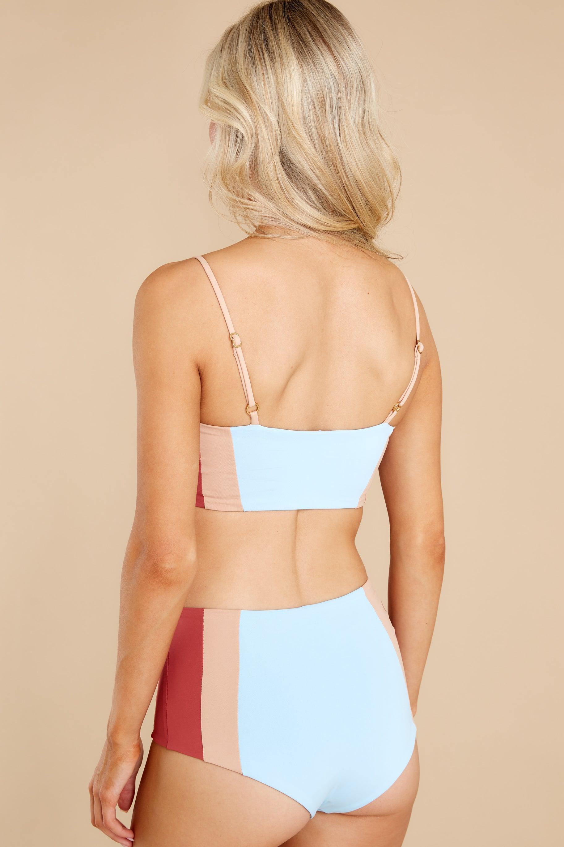 8 Rebel Heart Sky Blue And Brick Bikini Top at reddress.com