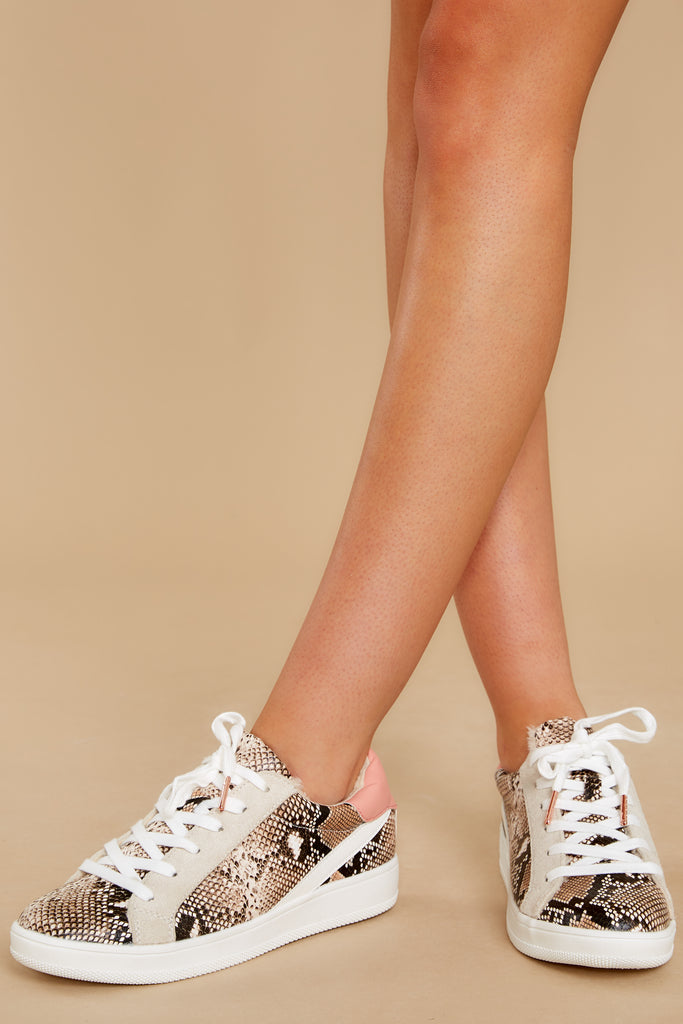 1 Good Fortune Beige Snakeskin Sneakers at reddress.com