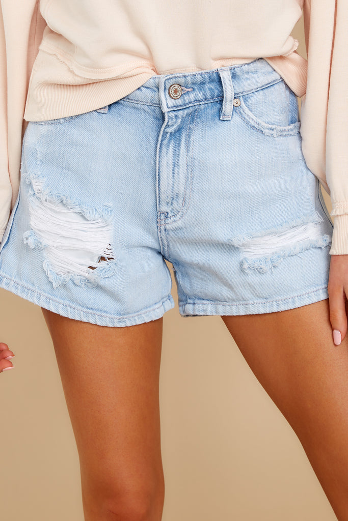 1 Heartbreak Girl Light Wash Distressed Denim Shorts at reddress.com