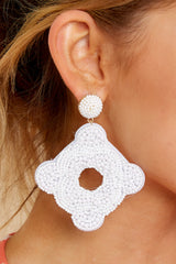 1 Having Fun Bright White Beaded Earrings at reddress.com