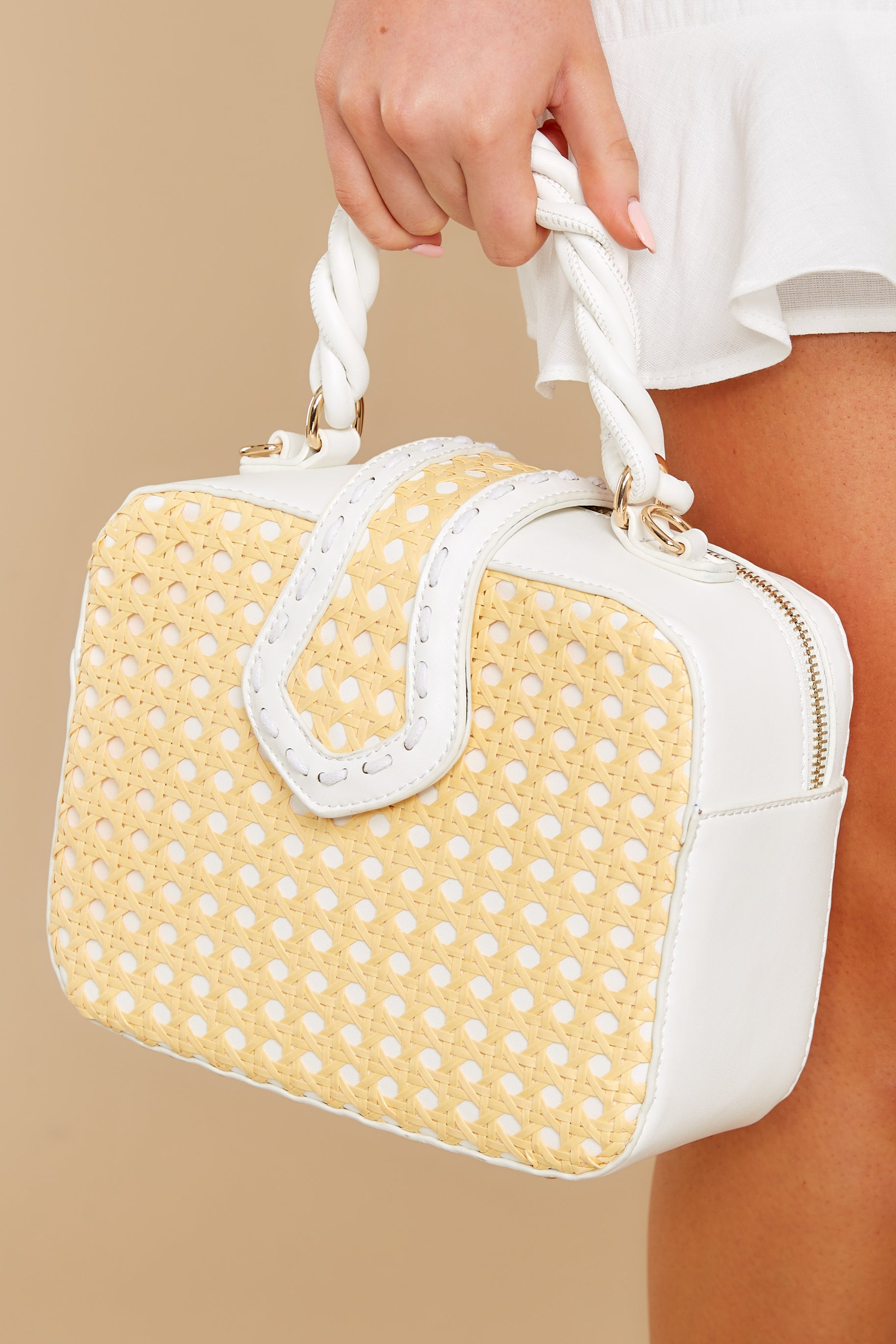 Vintage Handbags, Purses, Bags *New* Its Your Type Yellow And White Bag $42.00 AT vintagedancer.com