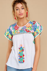 A Little Dramatic White And Yellow Floral Embroidered Top