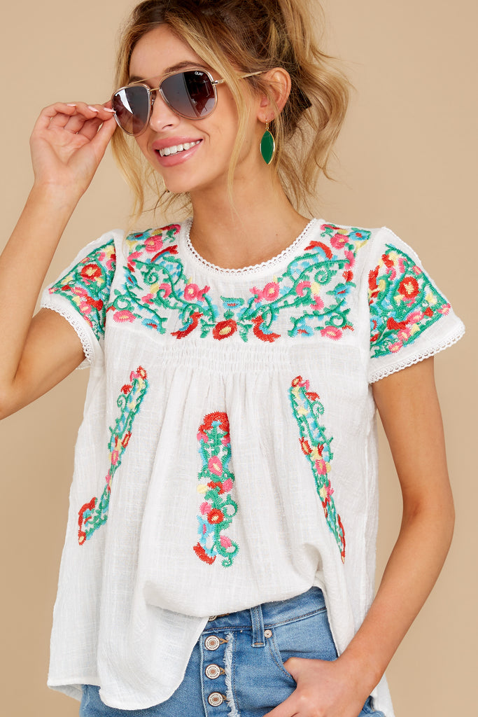 1 Worth Gushing Over White Embroidered Top at reddress.com
