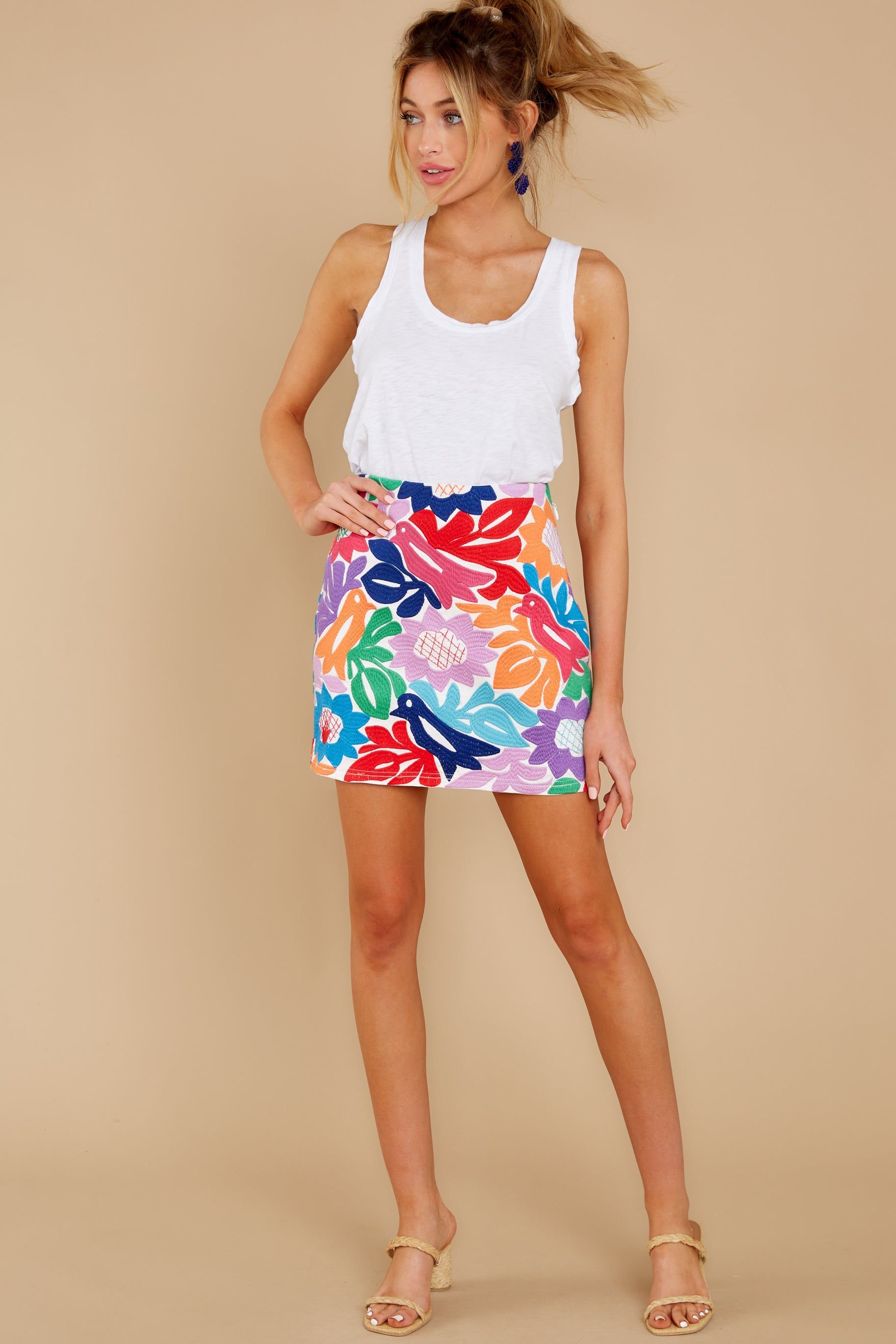 7 In A Twitter White Embroidered Skirt at reddress.com