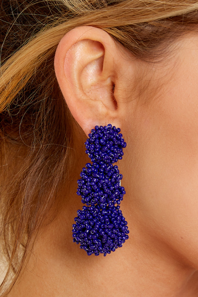 Across The Room Blue Beaded Earrings