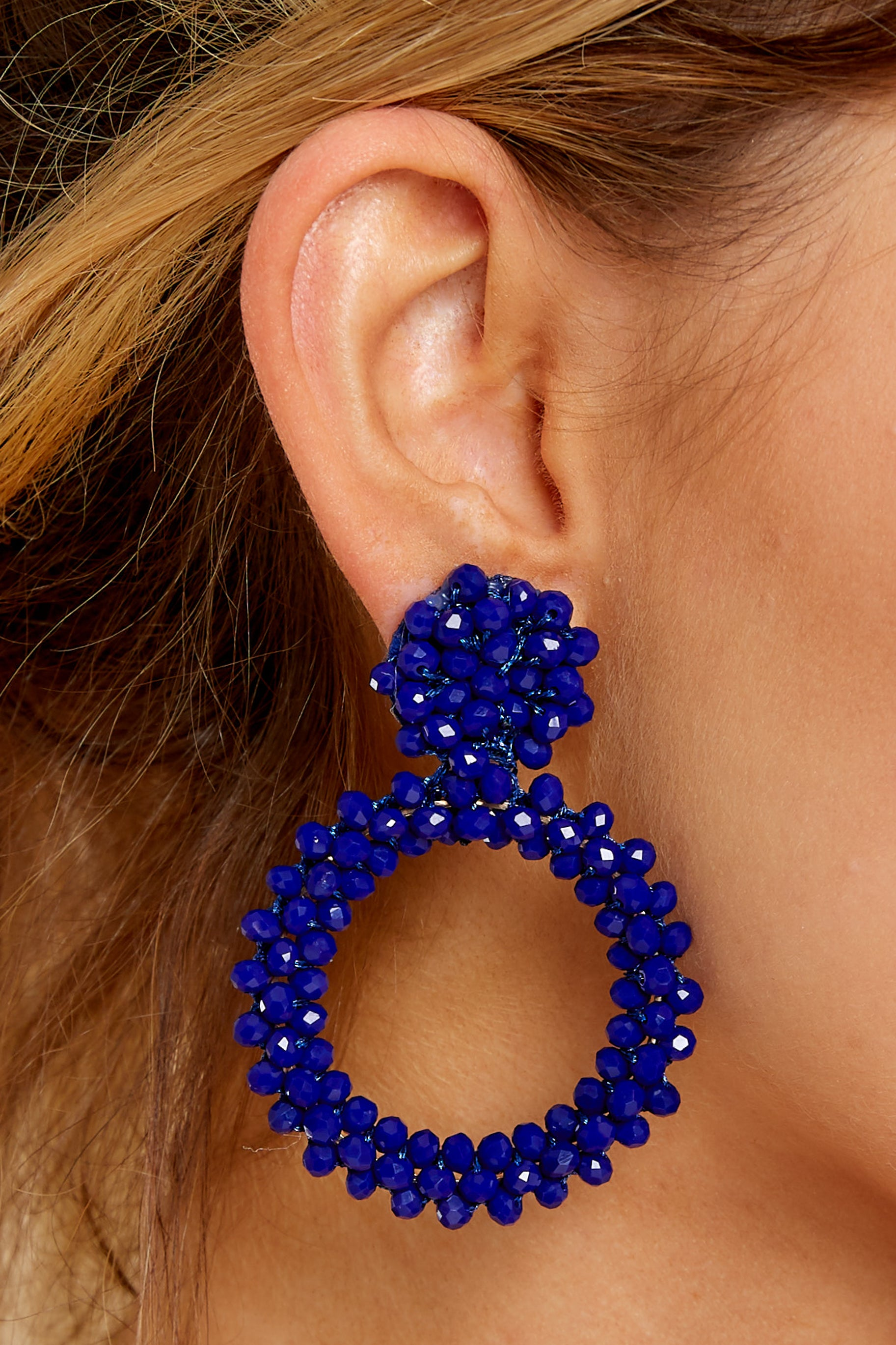 1 Versatile Zest Dark Blue Beaded Earrings at reddress.com
