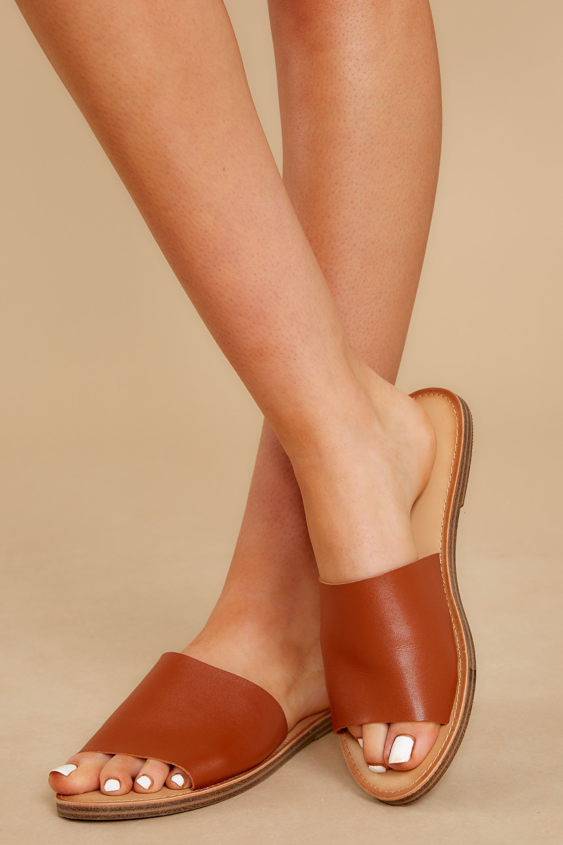 1 Where'd You Go Cognac Brown Slides at reddress.com
