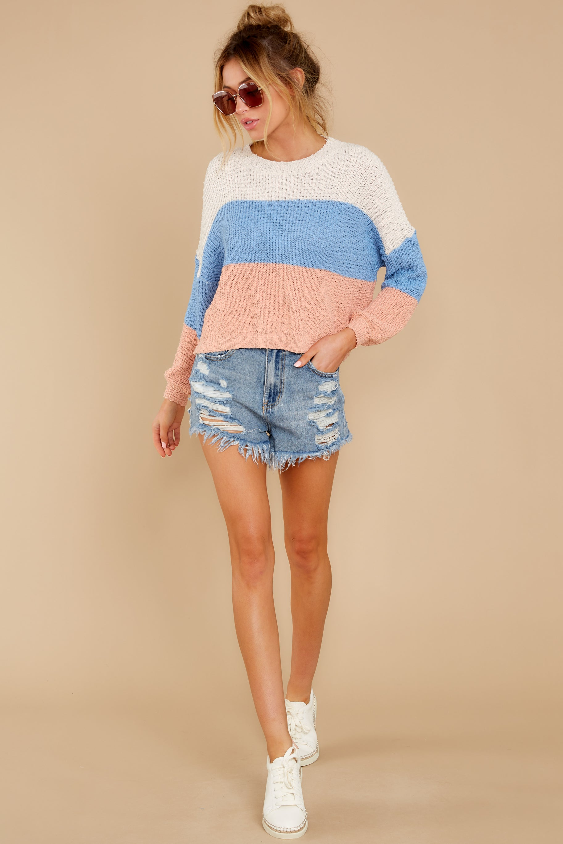 3 Well Said Cream Multi Stripe Sweater at reddress.com