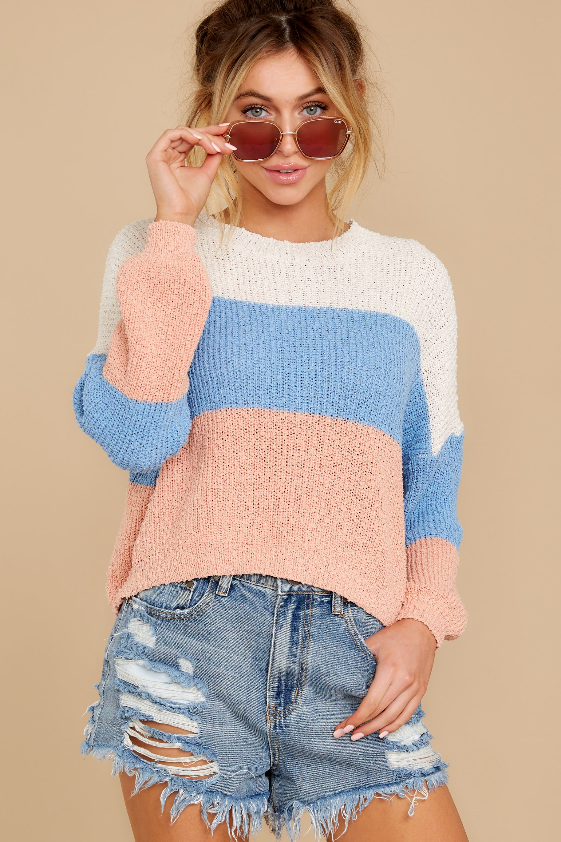 7 Well Said Cream Multi Stripe Sweater at reddress.com