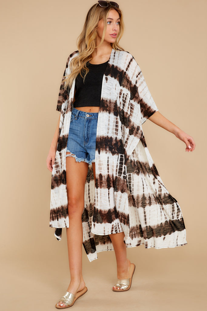 6 Wrapped In Luxe Brown Multi Tie Dye Kimono at reddress.com