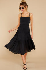 4 Eternal Sunshine Black Midi Dress at reddress.com