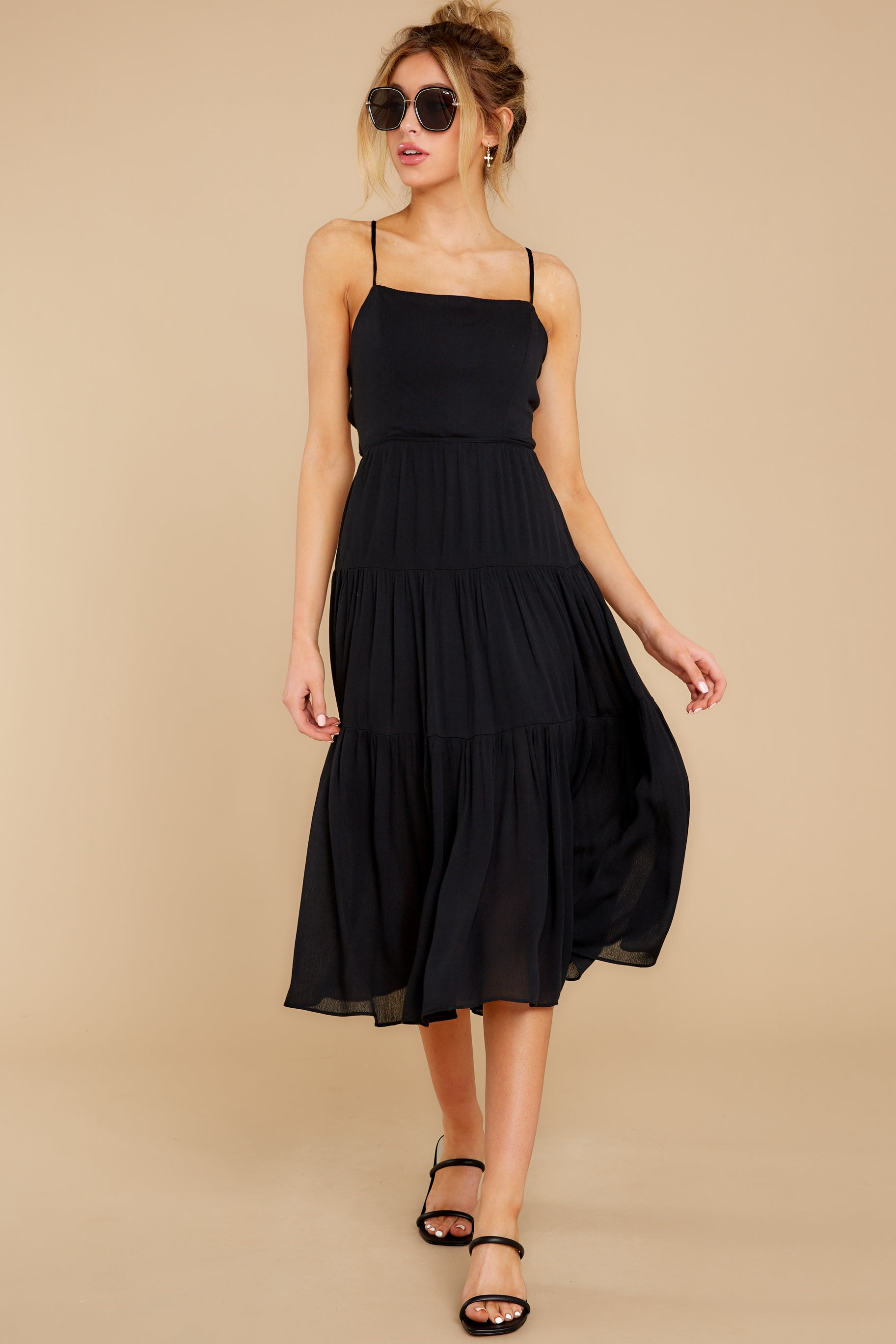 5 Eternal Sunshine Black Midi Dress at reddress.com