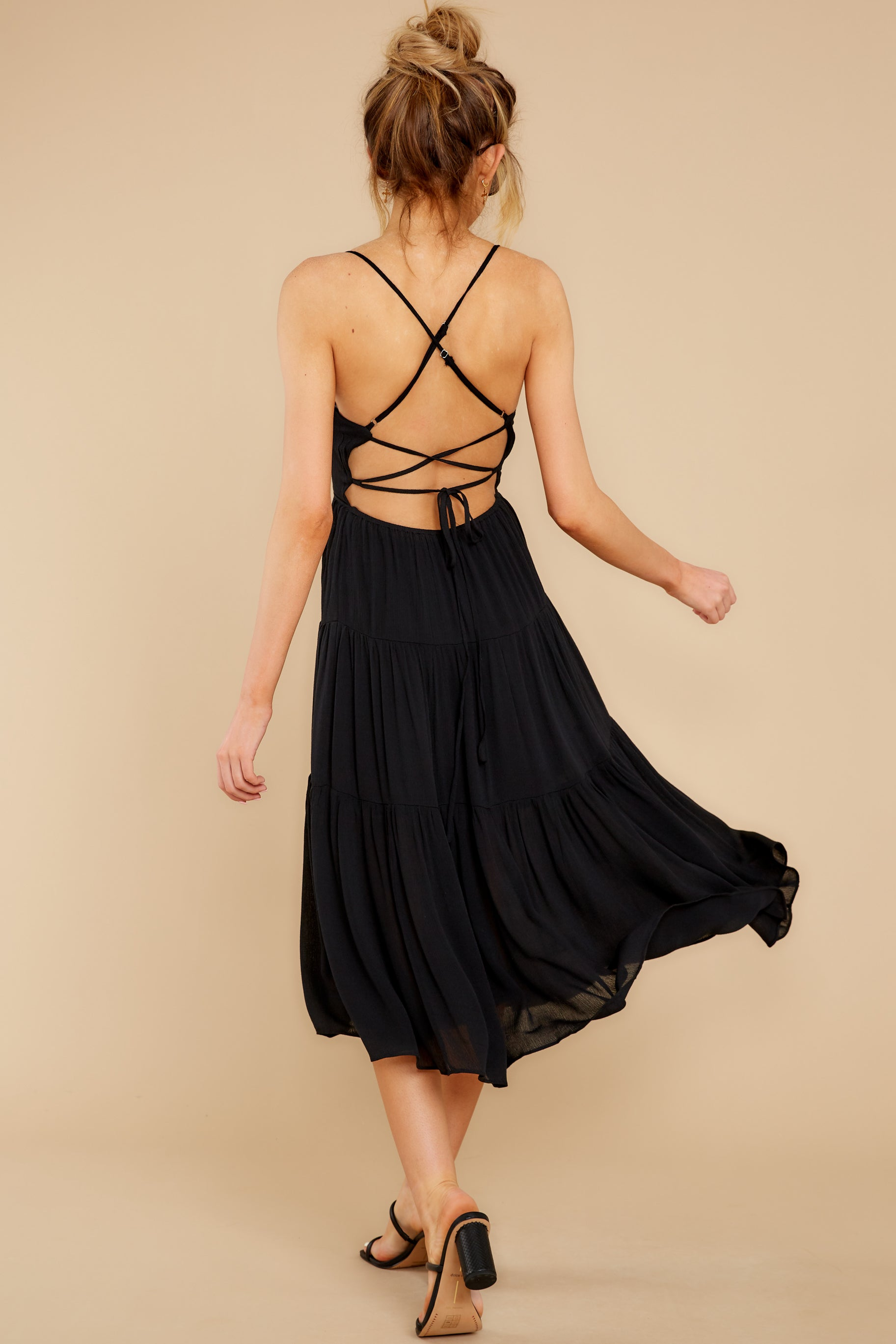 2 Eternal Sunshine Black Midi Dress at reddress.com