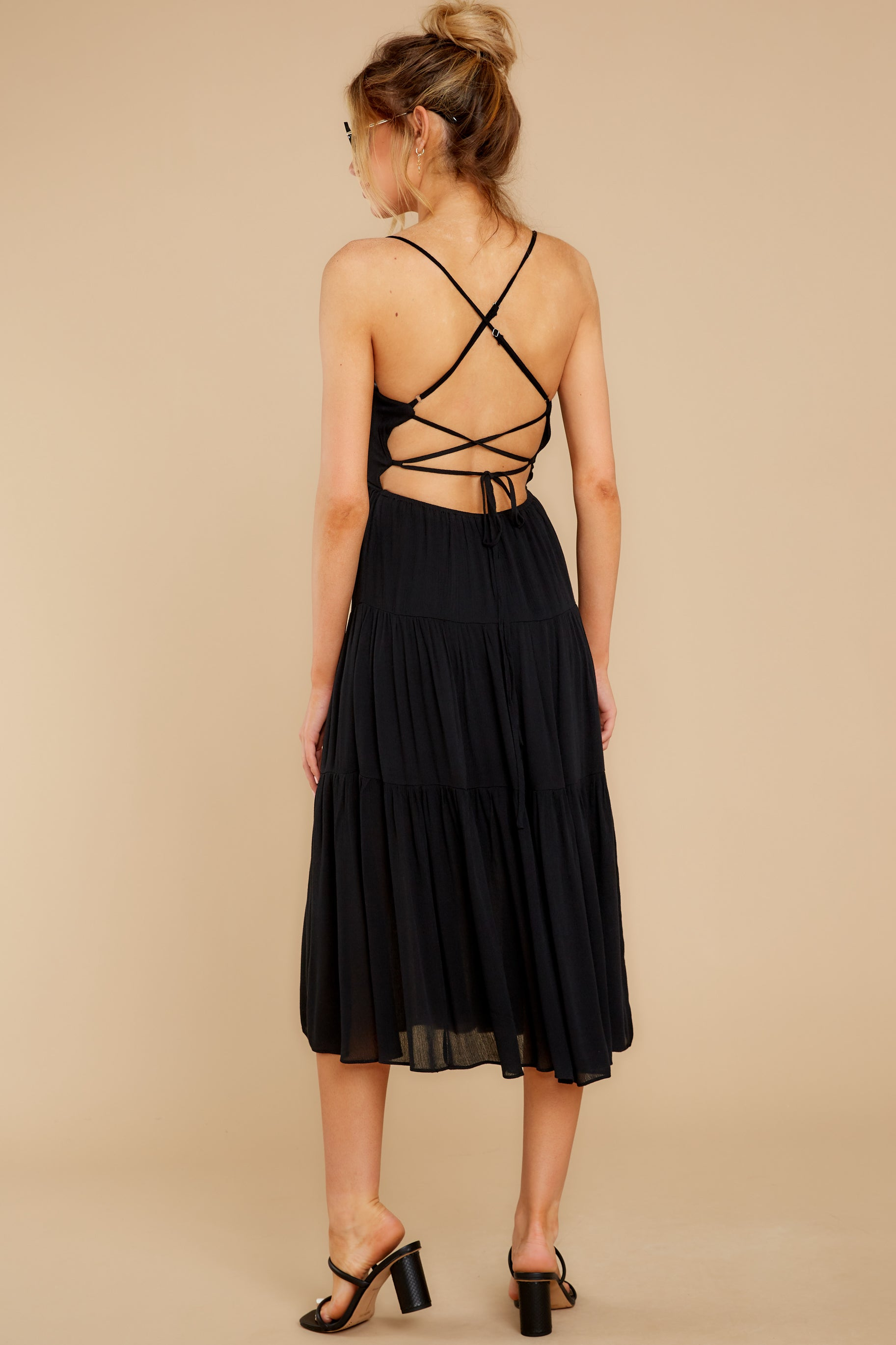 7 Eternal Sunshine Black Midi Dress at reddress.com