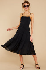 6 Eternal Sunshine Black Midi Dress at reddress.com