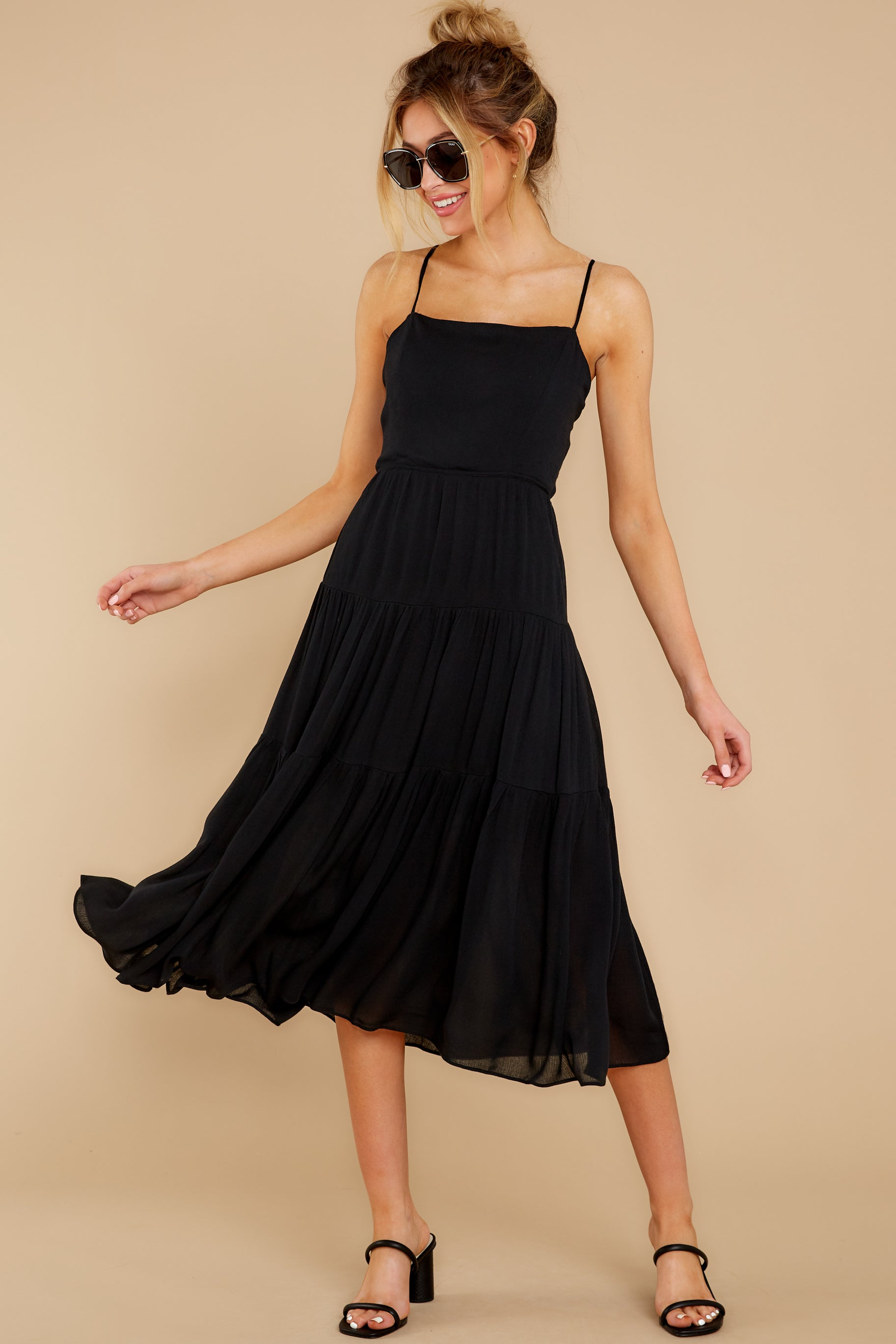 1 Eternal Sunshine Black Midi Dress at reddress.com