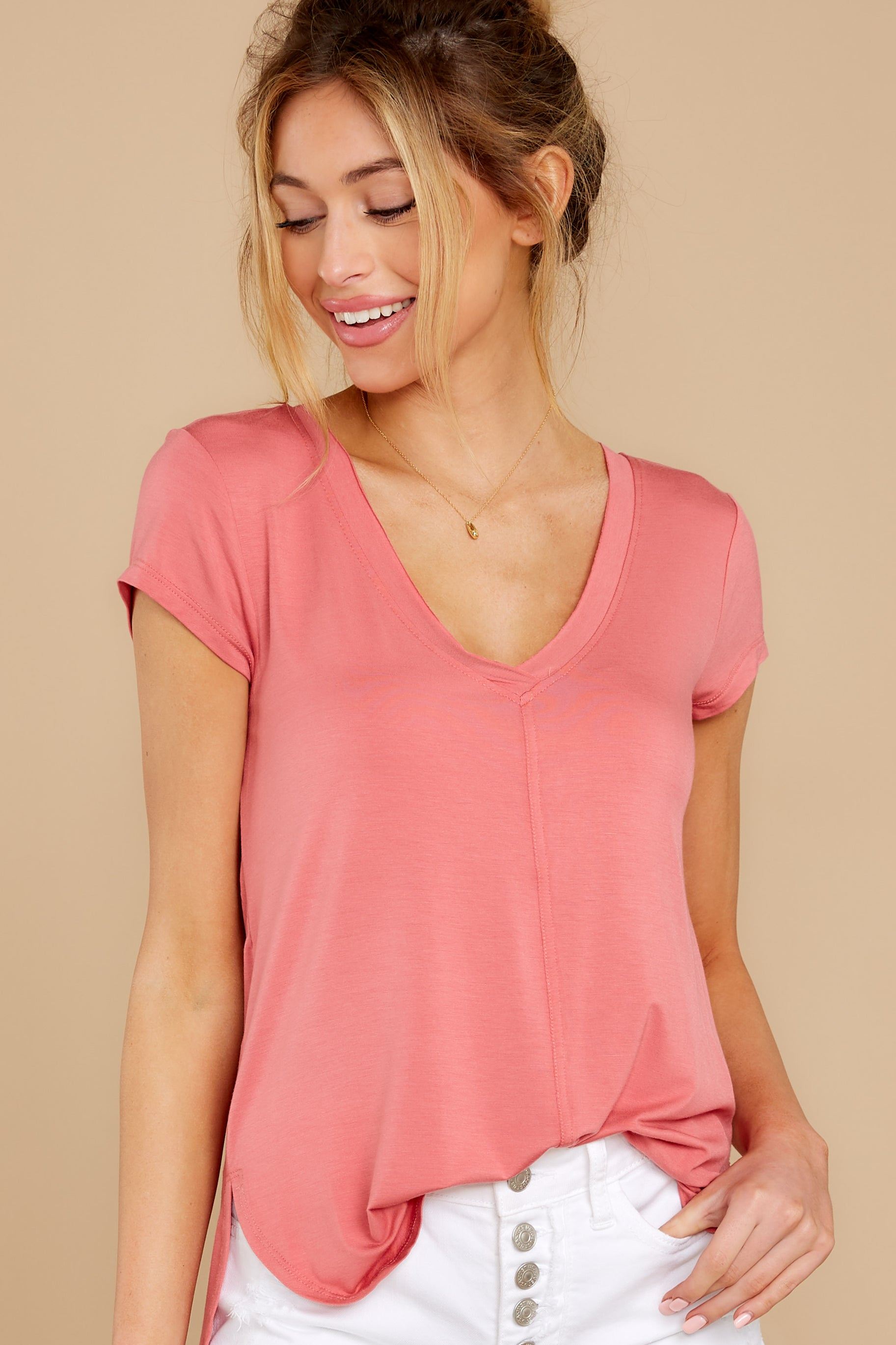 2 The Slate Rose Mya V Neck Tee at reddress.com