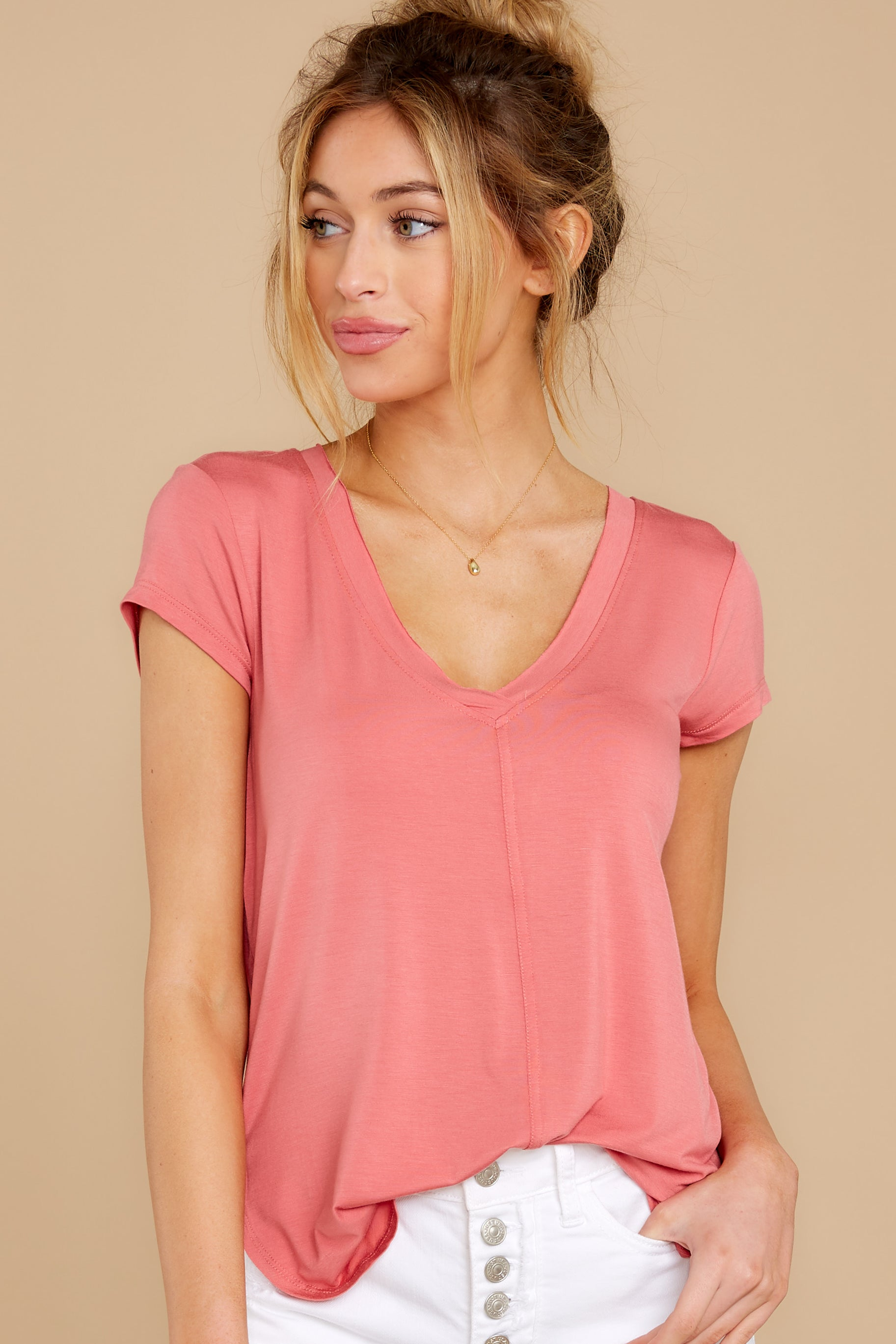 4 The Slate Rose Mya V Neck Tee at reddress.com