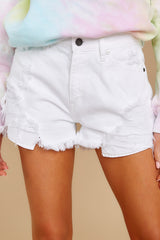 3 Already Here White Distressed Denim Shorts at reddress.com