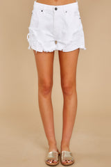 4 Already Here White Distressed Denim Shorts at reddress.com