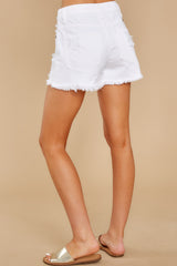 5 Already Here White Distressed Denim Shorts at reddress.com