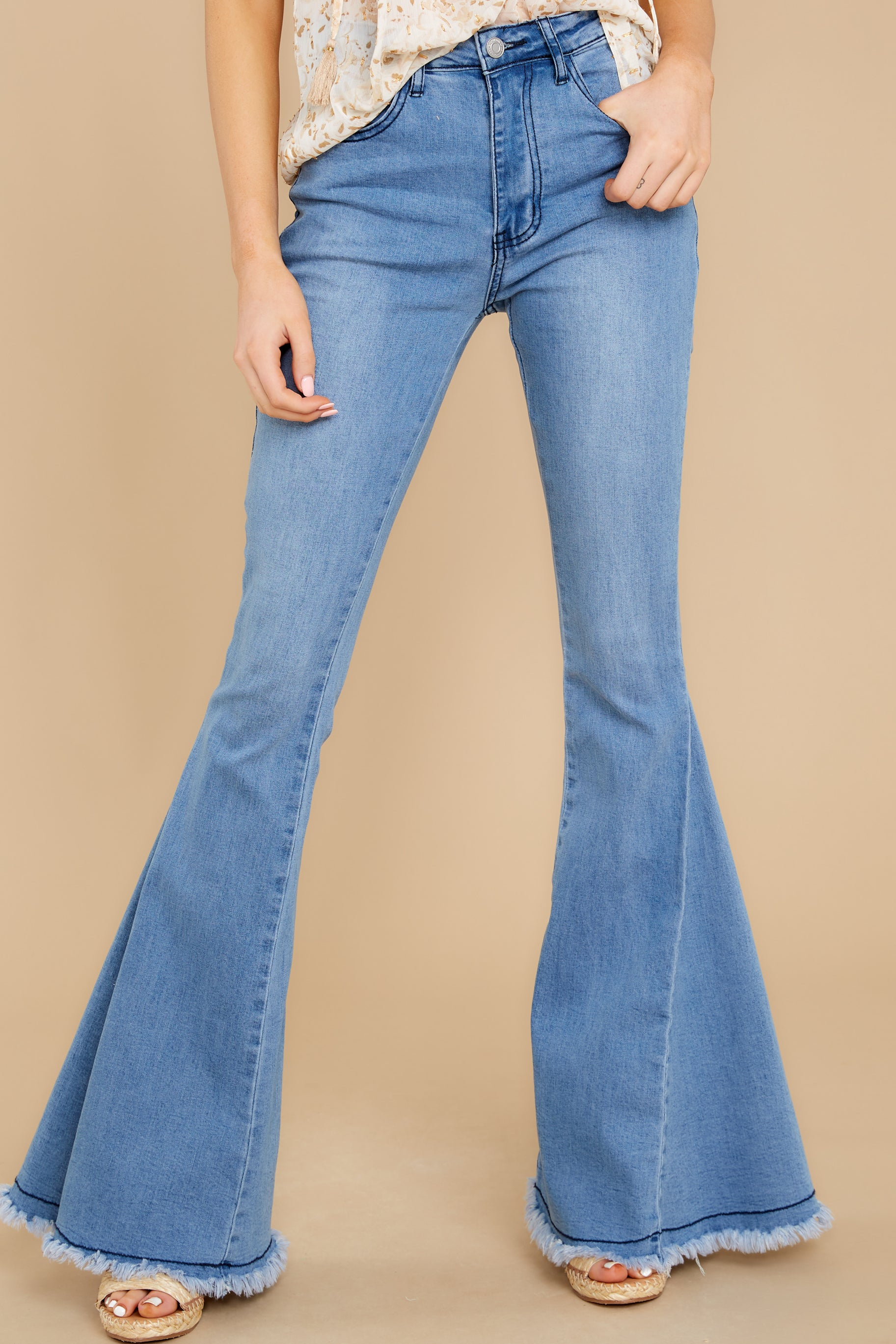 Vintage High Waisted Trousers, Sailor Pants, Jeans Everyday Yes Light Wash Flare Jeans Blue $52.00 AT vintagedancer.com