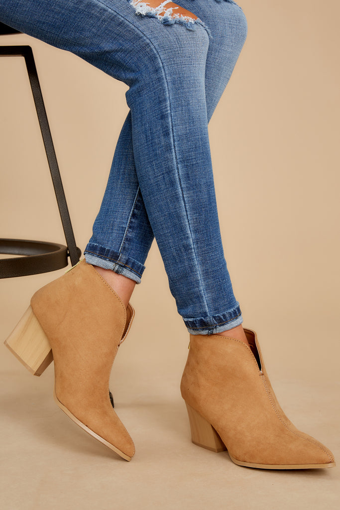 1 Taking These With Me Caramel Brown Ankle Booties at reddress.com