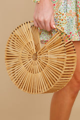 4 Lucky For You Light Brown Bamboo Round Bag at reddress.com