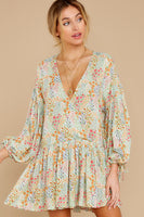 V-neck Rayon Bishop Sleeves Dropped Shoulder Wrap Drawstring Gathered Snap Closure Floral Print Dress
