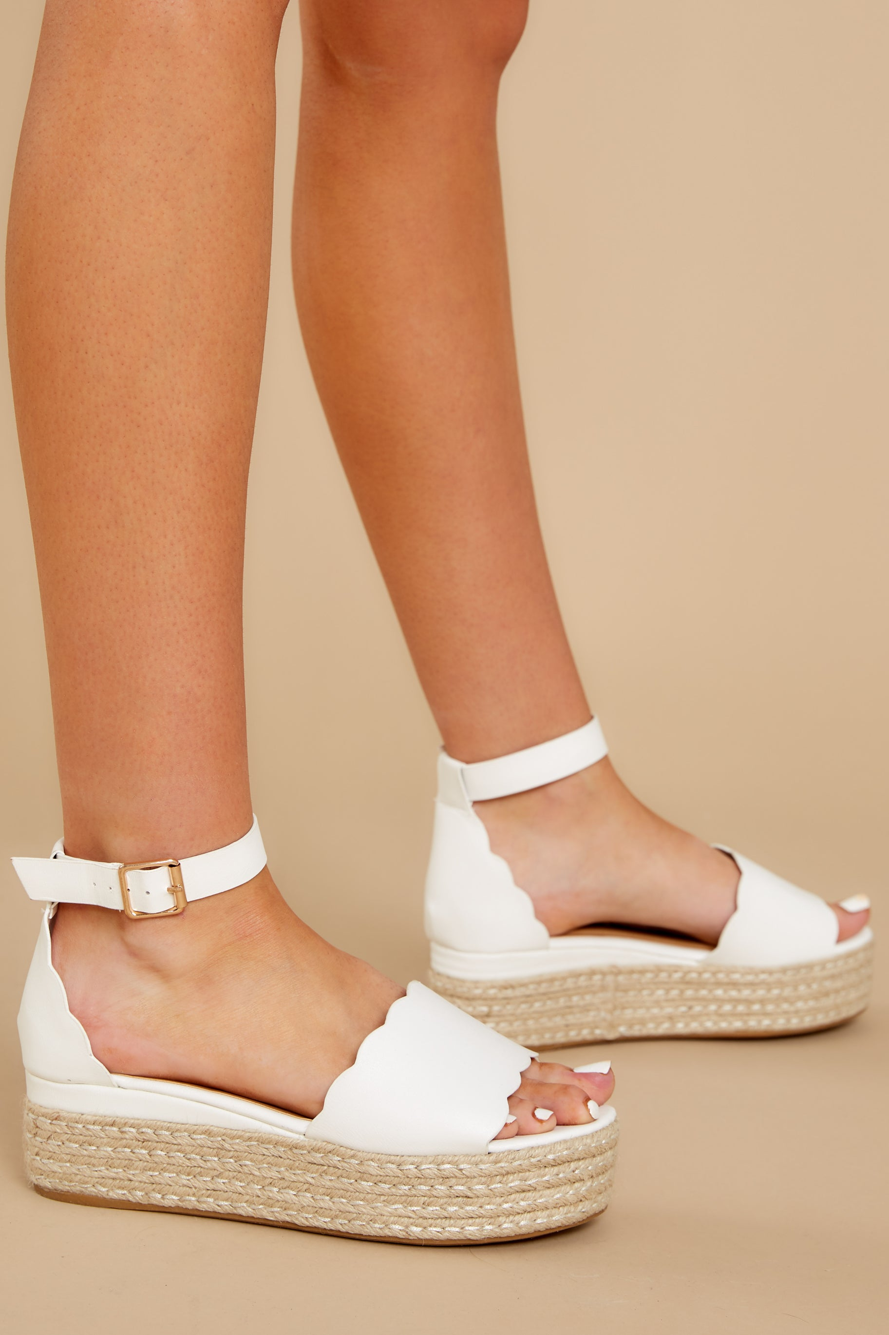 1 Whatever Whenever White Flatform Sandals at reddress.com