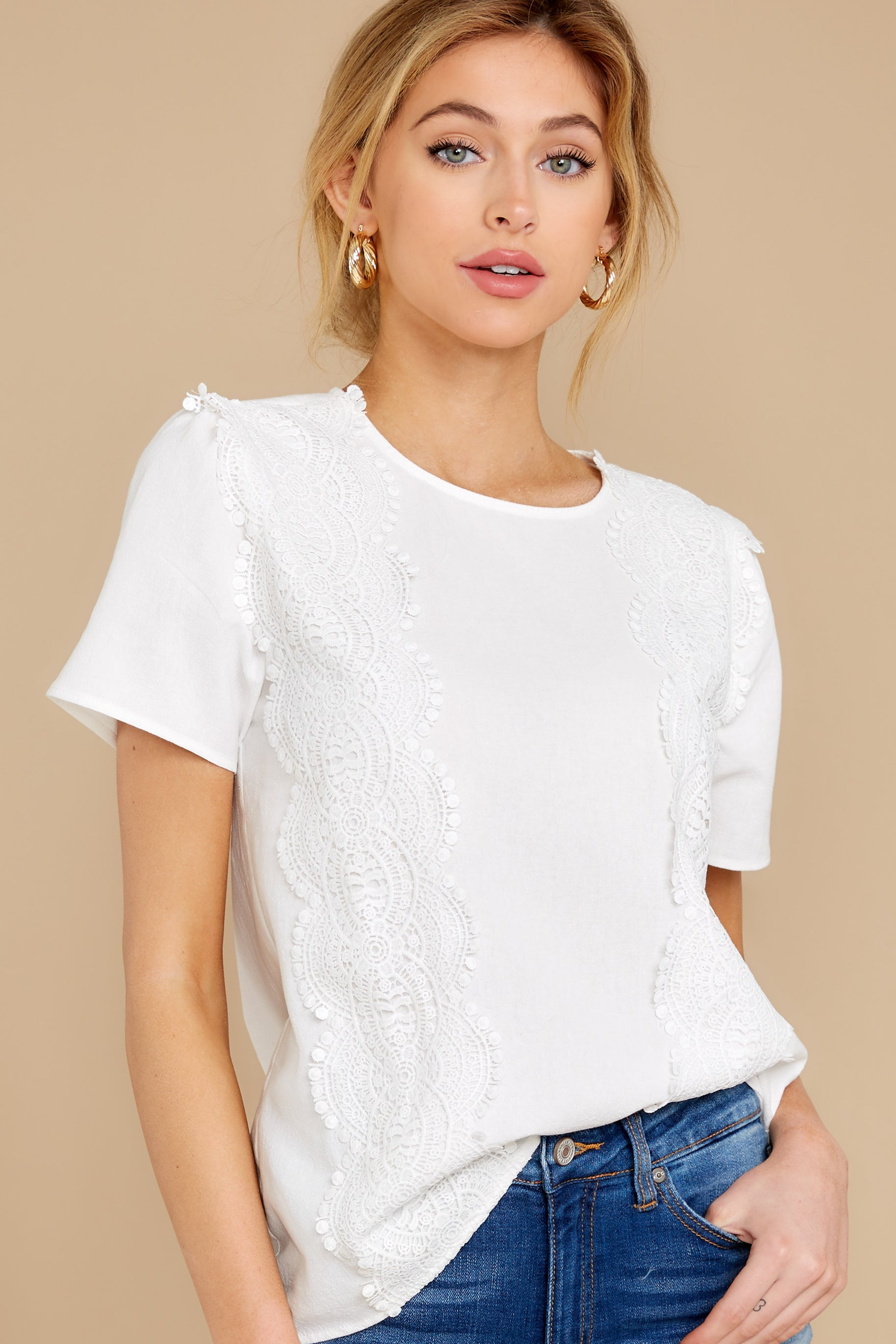5 Meet You Here White Lace Top at reddress.com