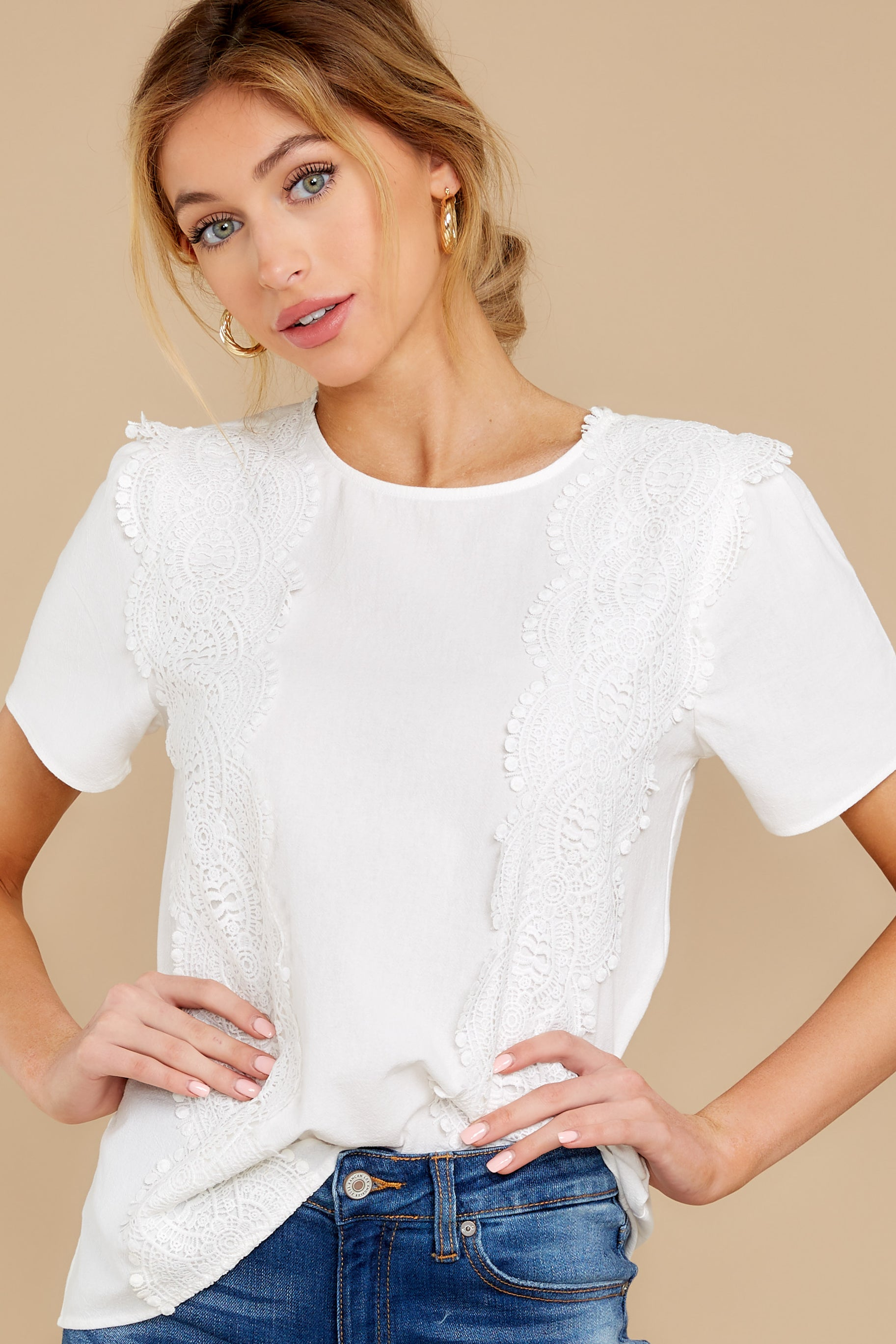 1 Meet You Here White Lace Top at reddress.com
