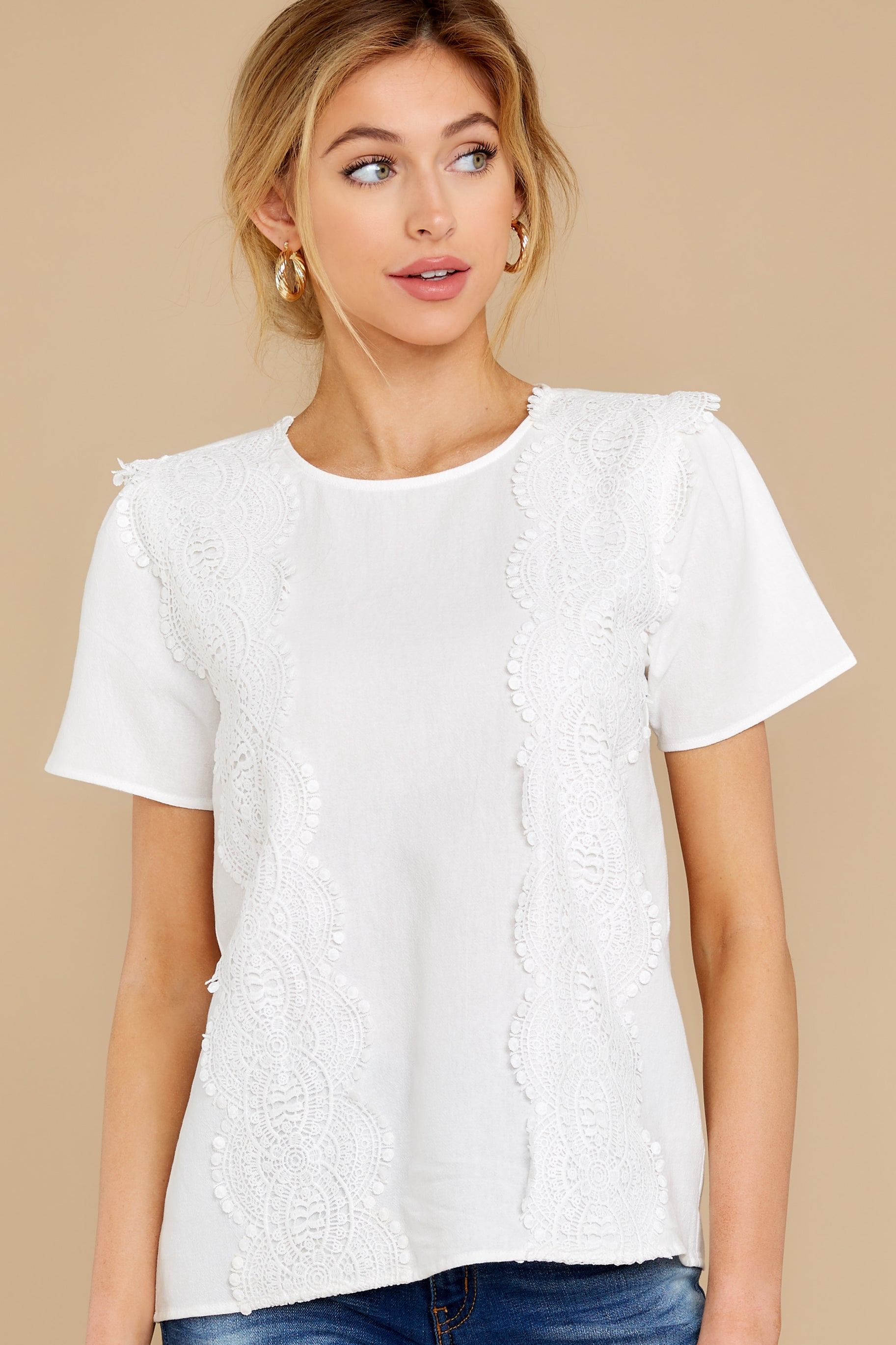 7 Meet You Here White Lace Top at reddress.com