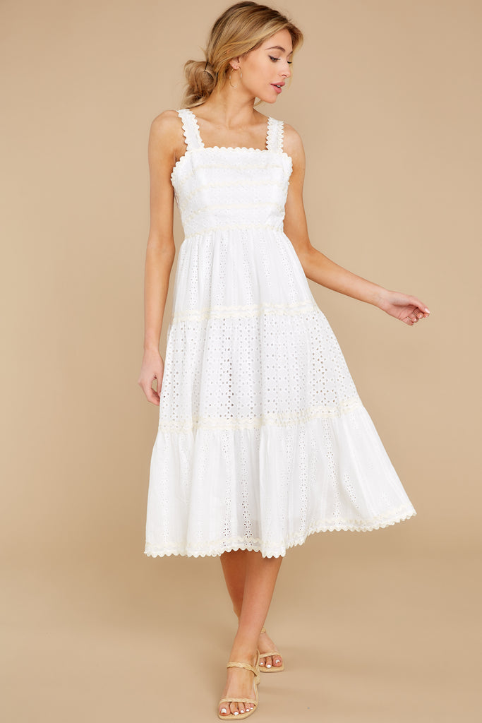 1 One Day Soon White Lace Midi Dress at reddress.com
