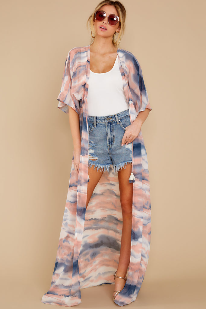 1 Moments So Chic Blue Multi Stripe Kimono at reddress.com
