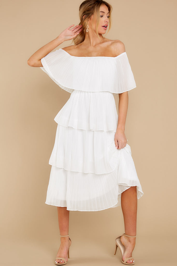 1 Never Say Never White Midi Dress at reddress.com