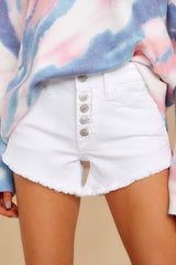 2 Heartbreak Girl White Distressed Denim Shorts at reddress.com