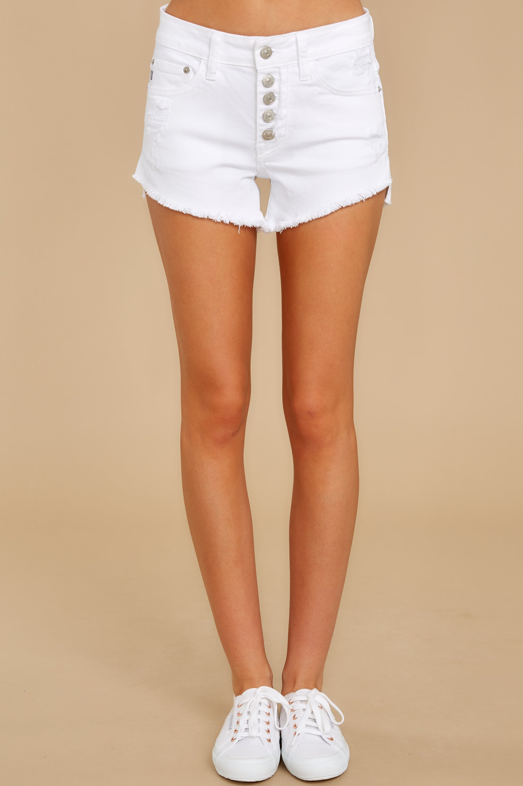 3 Heartbreak Girl White Distressed Denim Shorts at reddress.com