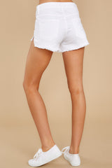 4 Heartbreak Girl White Distressed Denim Shorts at reddress.com