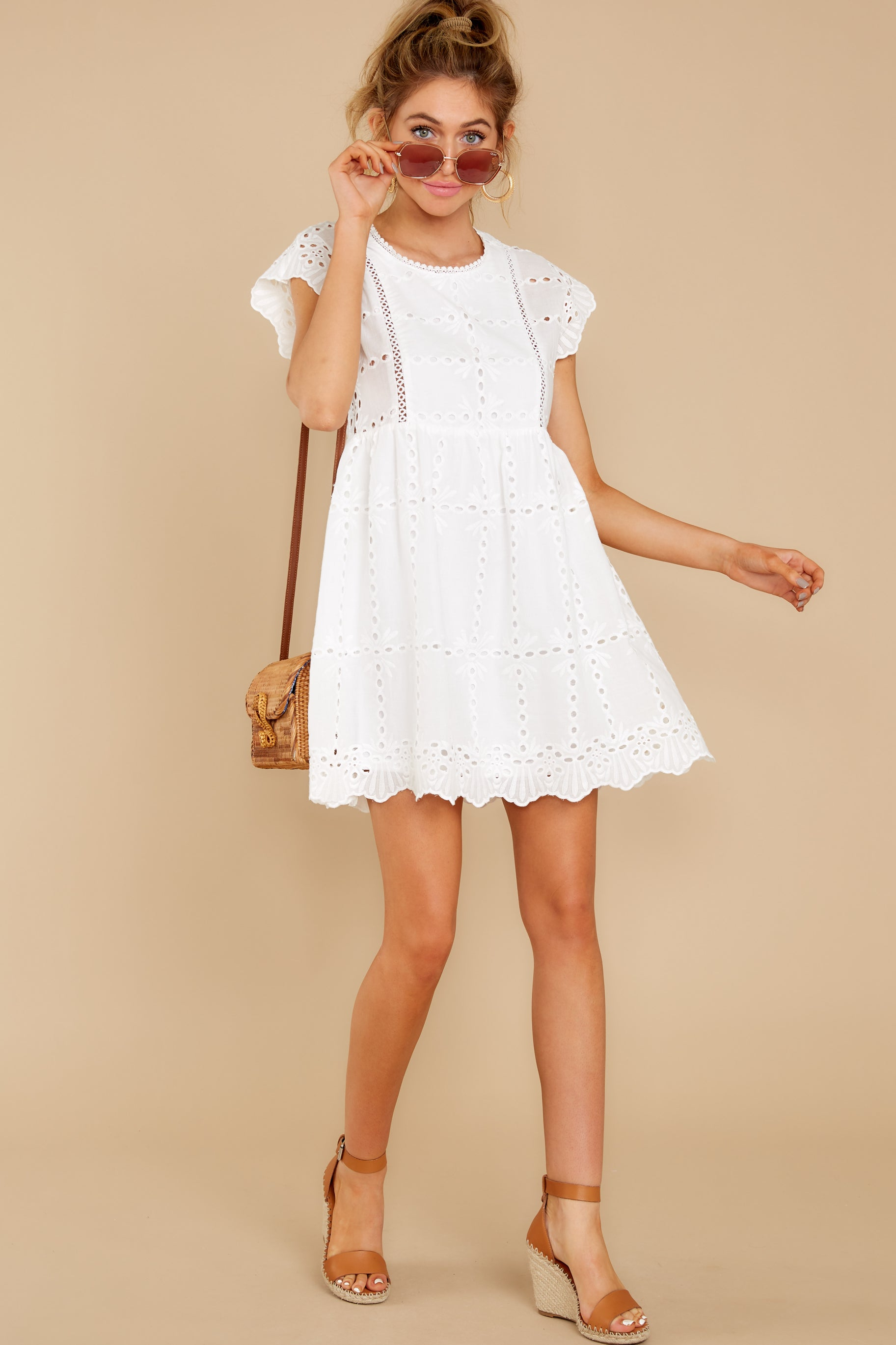 3 Better To Be Sweet White Eyelet Dress at reddress.com