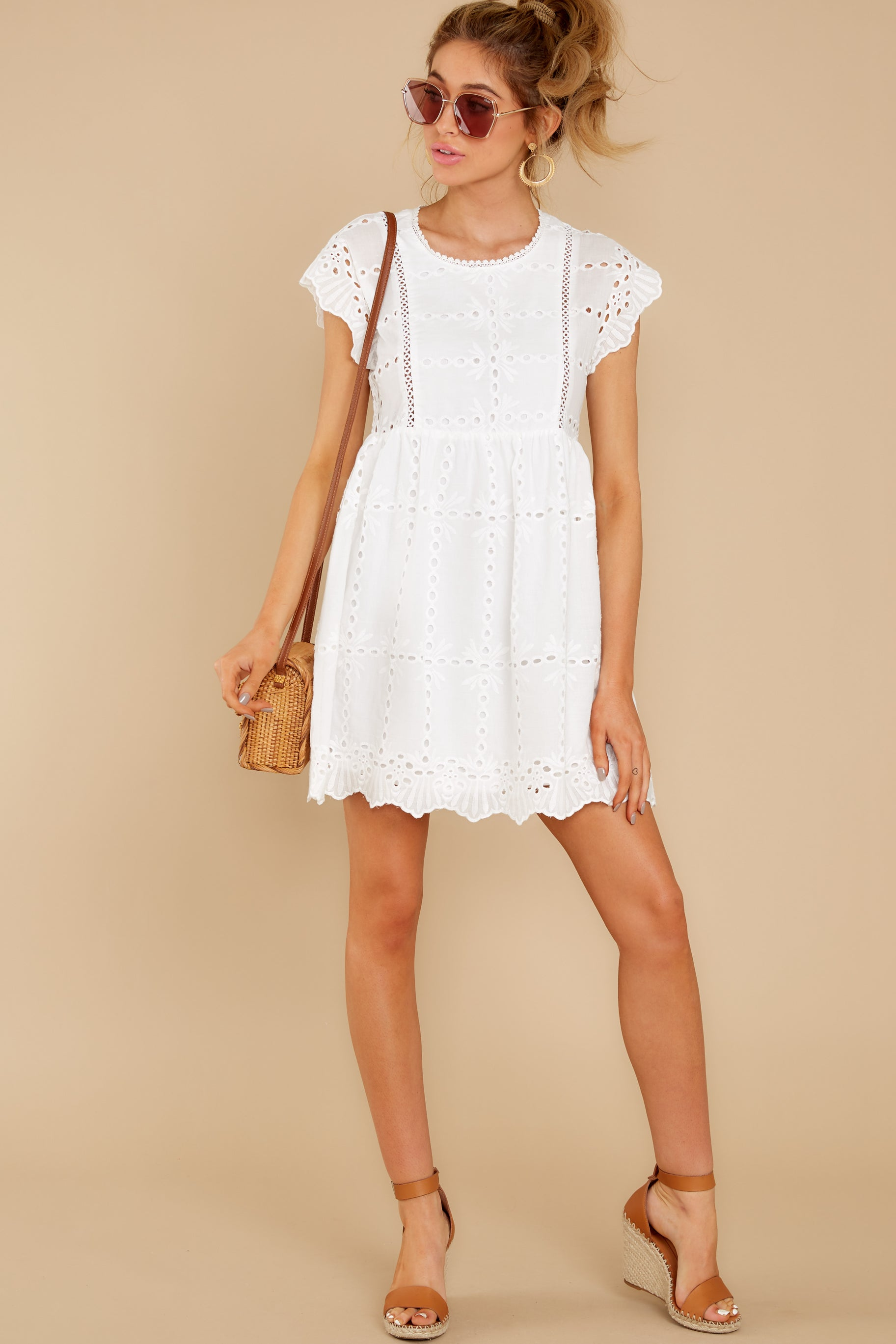 4 Better To Be Sweet White Eyelet Dress at reddress.com