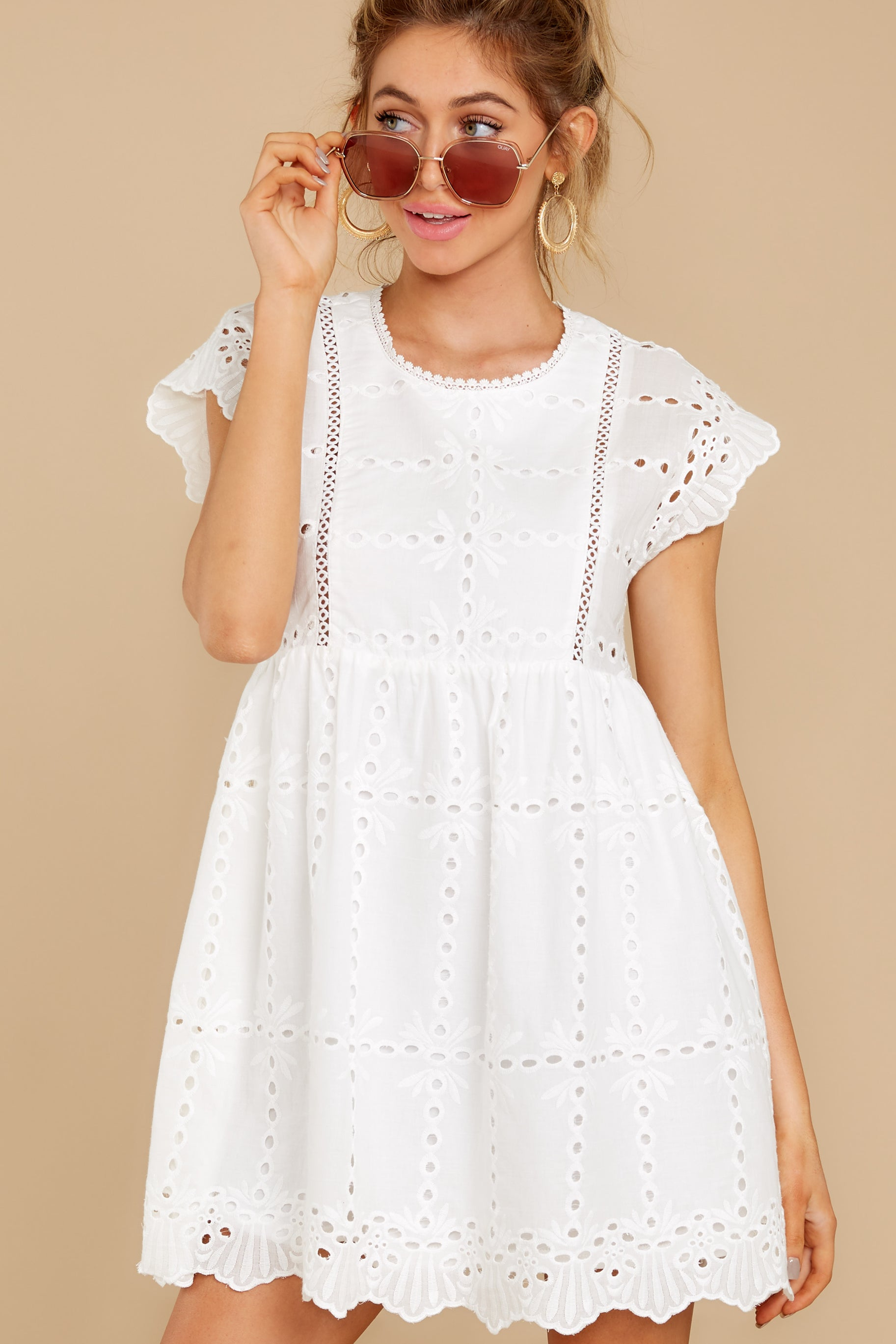 5 Better To Be Sweet White Eyelet Dress at reddress.com
