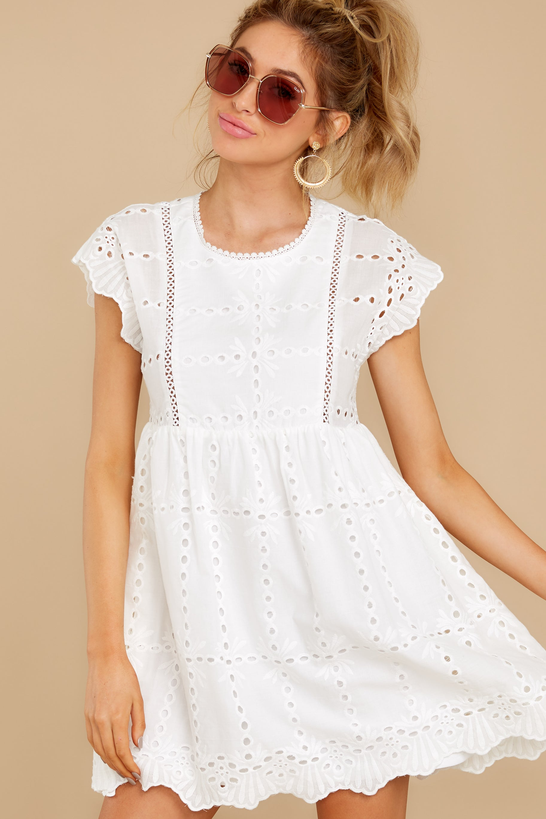 6 Better To Be Sweet White Eyelet Dress at reddress.com