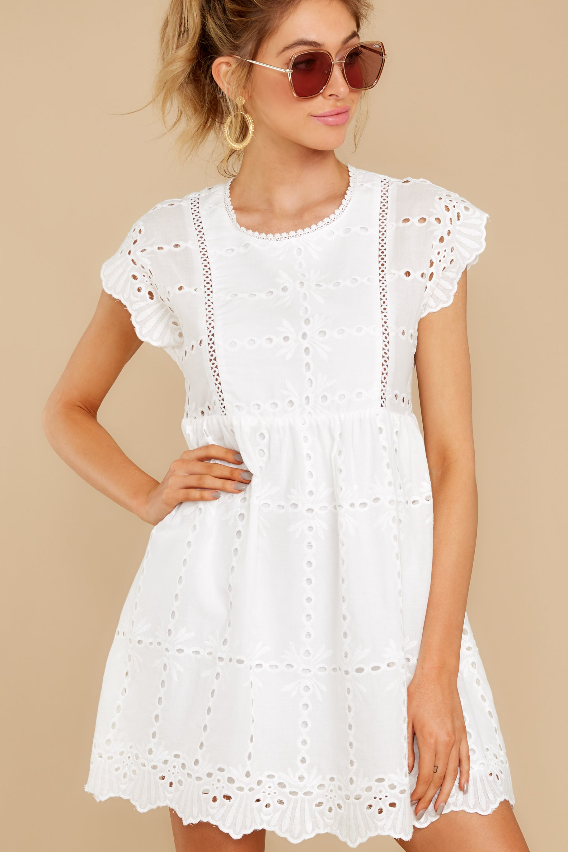 7 Better To Be Sweet White Eyelet Dress at reddress.com