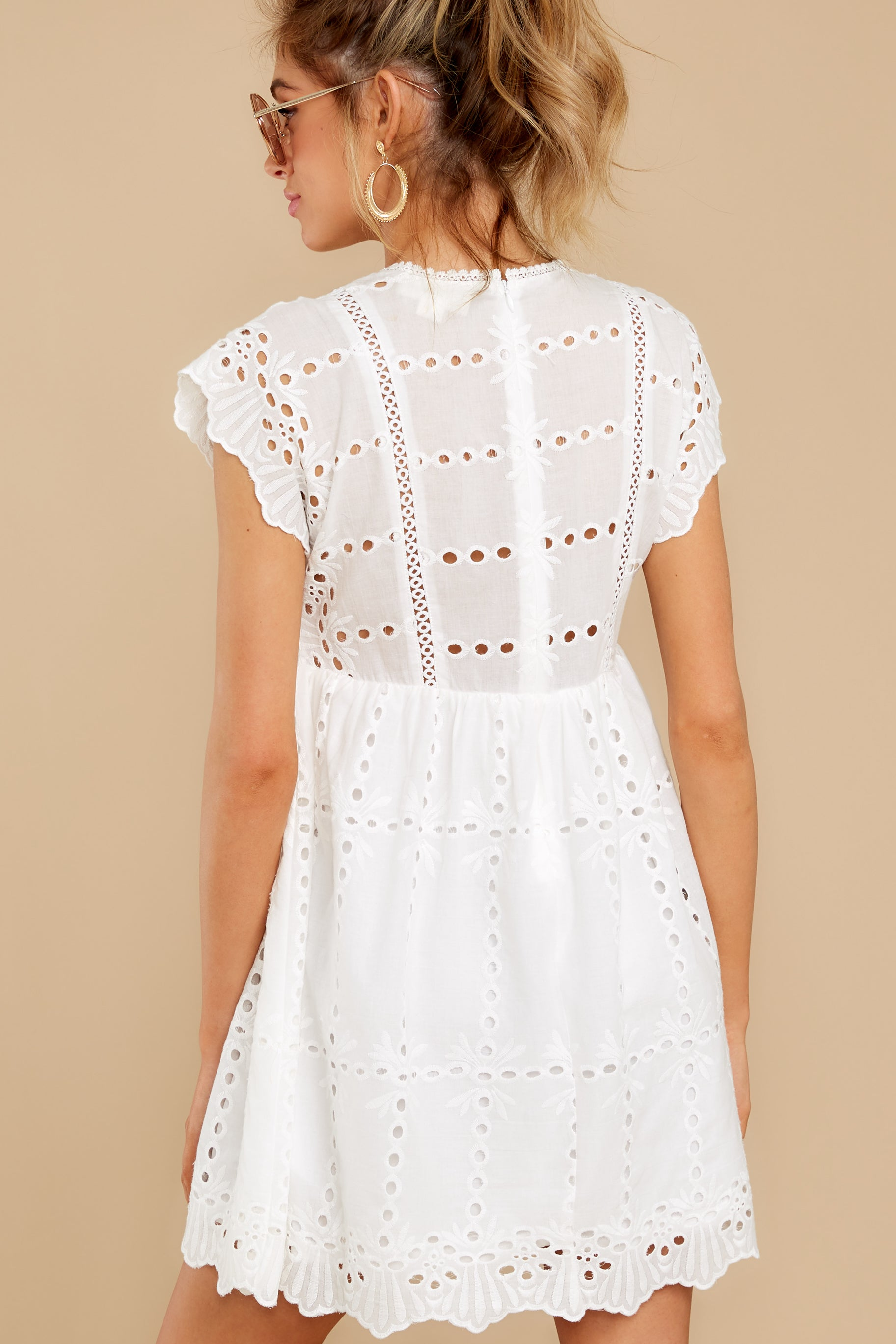 8 Better To Be Sweet White Eyelet Dress at reddress.com