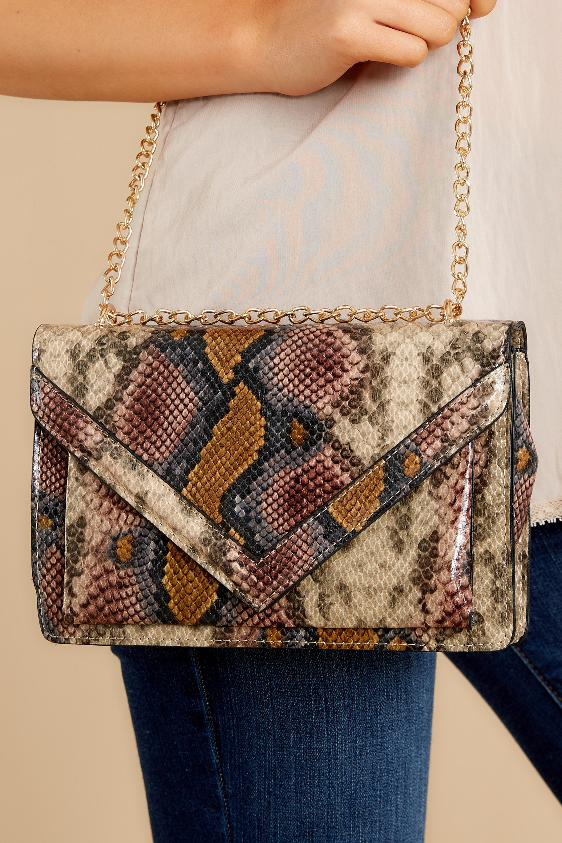 Marvel The Masses Tan Multi Snakeskin Purse Beige (2256097312864 B-JO-B5-21445) photo