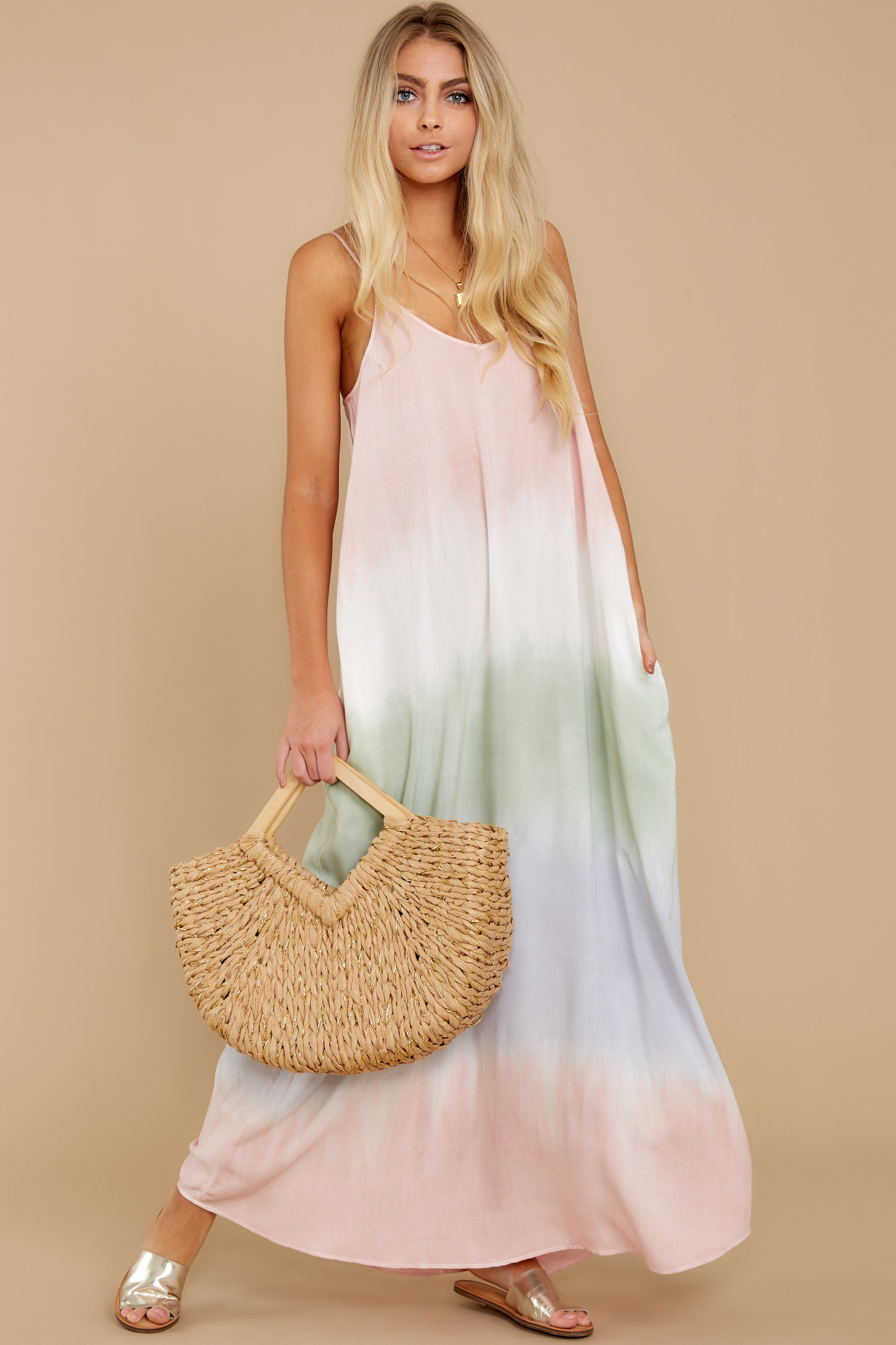 3 All My Love Blush Pink Multi Maxi Dress at reddress.com